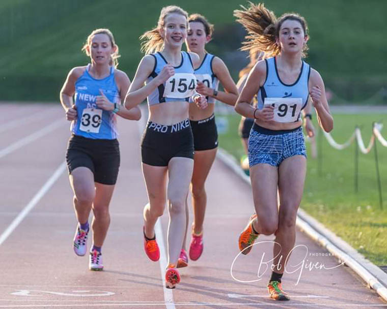 Sarah Jane Beattie in action during her mile race on Friday