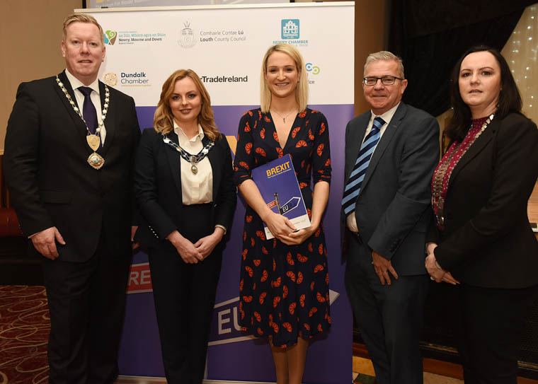 Paul Convery, President, Newry Chamber of Commerce & Trade, Cllr. Oksana McMahon, Deputy Chair, Newry, Mourne and Down District Council, Helen McEntee TD, Minister of State for European Affairs and Cllr. Maria Doyle, Leas-Cathaoirleach, Louth County Council.