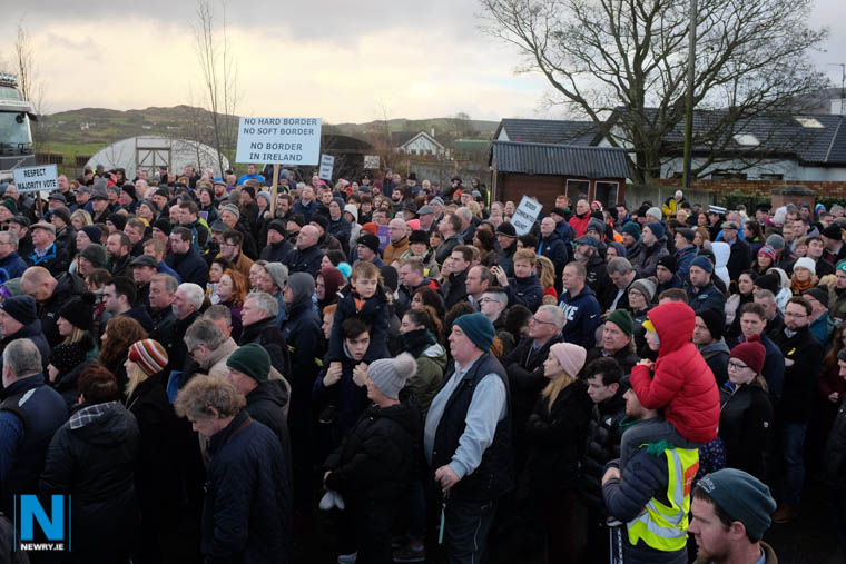 A small section of the massive crowd for the Border Communities Against Brexit protest. Photograph: Columba O'Hare/ Newry.ie