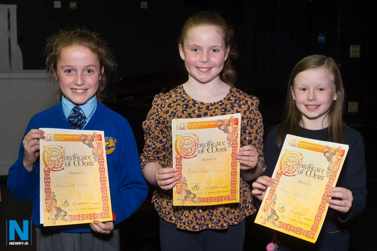 Mary Anne Feehan, Ellie Sands and Aoife O'Hare with their certificates in the Girls Solo Under 12 category at Newry Musical Feis. Photograph: Columba O'Hare/ Newry.ie
