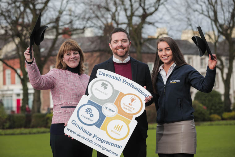 Gillian McAuley, Group HR Director, Devenish; Ryan Connor, People Development Manager, Devenish; Anna Carmichael, current Graduate Trainee, Devenish. Photograph: Brian Thompson