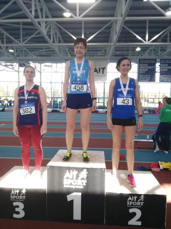 Joanne McCauley lifting Gold in High Jump at the Irish Health Life Master Indoor Championships in Athlone