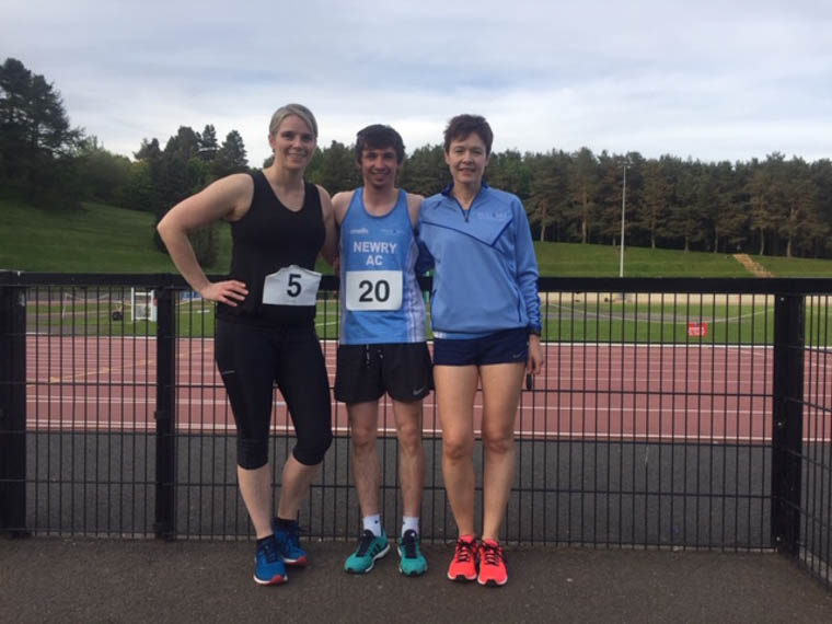 Bernadette Salisbury, Gary Crummy & Joanne McCauley at the ANI Meet at the Mary Peter's Track