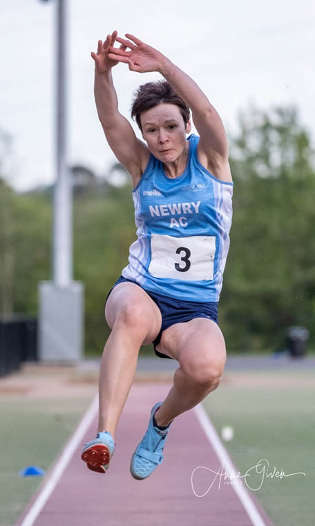Joanne McCauley in full flight at the Mary Peter's Track