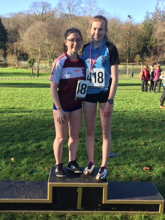 Anna Fegan & Meadow McCauley both qualifying for Ulster Schools XC at the Armagh Districts Championships