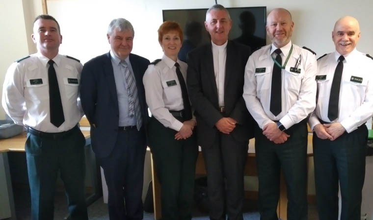 Pictured on the Moderator's visit to Ardmore PSNI station are from left: Inspector Nigel Henry, Rev Tony Davidson, Superintendent Jane Humphries, PSNI's Newry Mourne & Down District Commander, Presbyterian Moderator, Dr Charles McMullen, Inspector Russell Vogan QPM and Chief Inspector Joe McMinn.