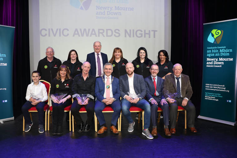 Chairman Newry, Mourne and Down District Council, Councillor Mark Murnin, CEO Liam Hannaway and Civic Award Recipients from Slieve Gullion Area, Conor Bannon, Colm (Bootsy) Fearon, John O'Hare, Bernard Boyle and Raymond McCumiskey Forkhill & District Development Association and six representatives from Crossmaglen First Responders.