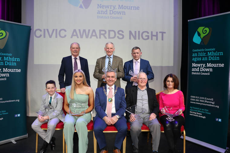 Chairman Newry, Mourne and Down District Council, Councillor Mark Murnin, CEO Liam Hannaway and Civic Award Recipients from Crotlieve Area, Jack Carvill, Aoife Trainor, Francis Doyle, Gloria Havern, Jim Killen Mourne Sheep-breeders Association and Charlie Davis Maiden of Mournes Festival.
