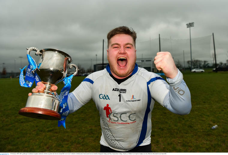 SRC goalkeeper Lochlainn Leneghan celebrates with the cup after the Electric Ireland HE GAA Corn Comhairle Ardoideachais Final match between Southern Regional College and Mary Immaculate College, Thurles. Photograph: Diarmuid Greene/ Sportsfile