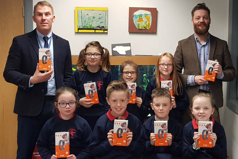 Recipients of the digital devices from St Joseph's PS in Newry.