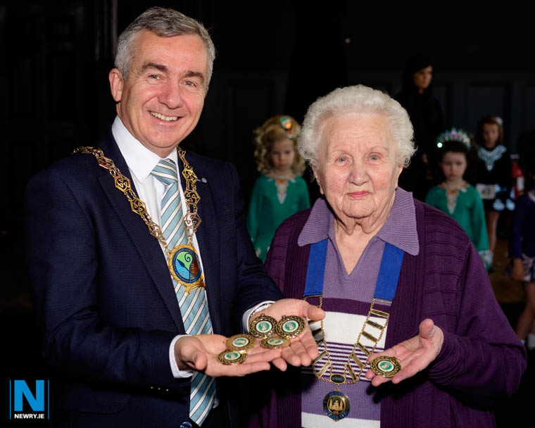 Cllr Mark Murnin, Chairman, Newry, Mourne and Down District Council with Alma Brown, President, Newry Musical Feis at the opening of the 2019 Feis at Newry Town Hall. Photograph: Columba O'Hare/ Newry.ie