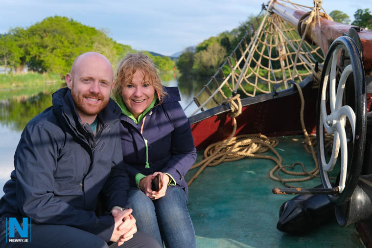 BBC NI. Presenter and Weatherman Barra Best and producer Gemma Cunningham on board the Volharding on a trip down Newry Ship Canal. Photograph: Columba O'Hare/ Newry.ie