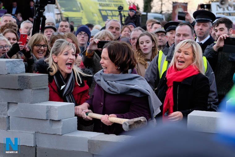 The Sledgehammer scene - Martina Anderson, MEP; Mary Lou McDonald, President, Sinn Féin and Michelle O'Neill, Leader of Sinn Féin in the north. Photograph: Columba O'Hare