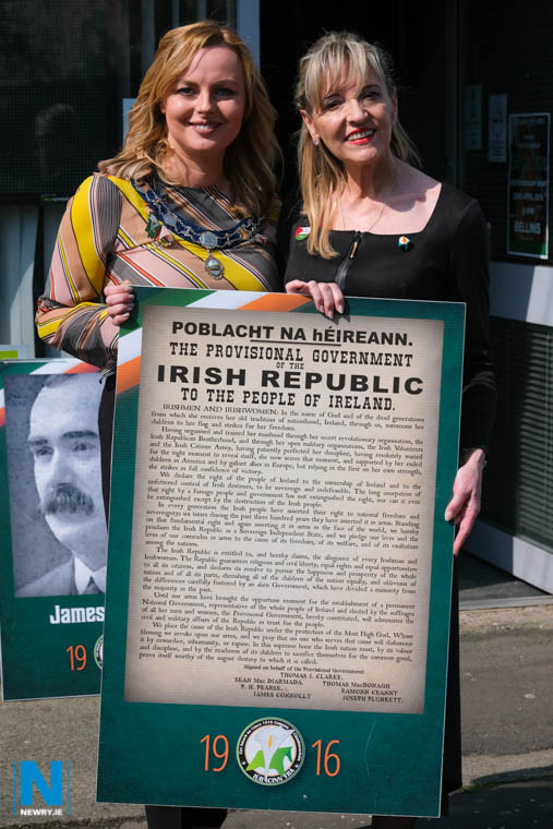Cllr Oksana McMahon, Vice Chairwoman, Newry, Mourne and Down Council and Martina Anderson, MEP at the Easter commemorations in Newry. Photograph: Columba O'Hare/ Newry.ie