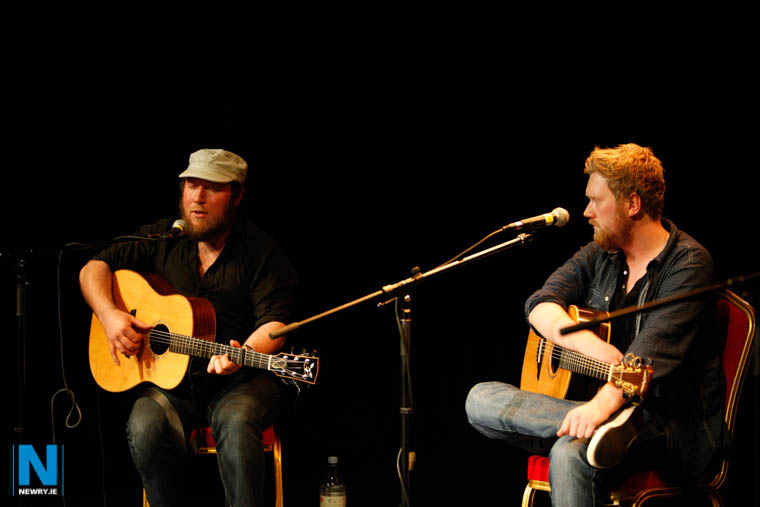 Matt McGinn and Gareth Dunlop singing in the present Arts Centre Auditorium. Photograph: Columba O'Hare/ Newry.ie