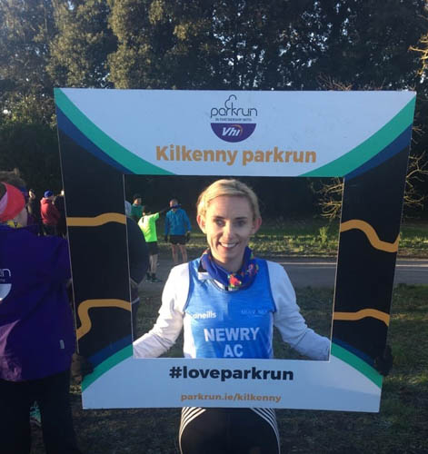 Sarah Jane Beattie participating and taking 2nd Female at the Kilkenny Parkrun