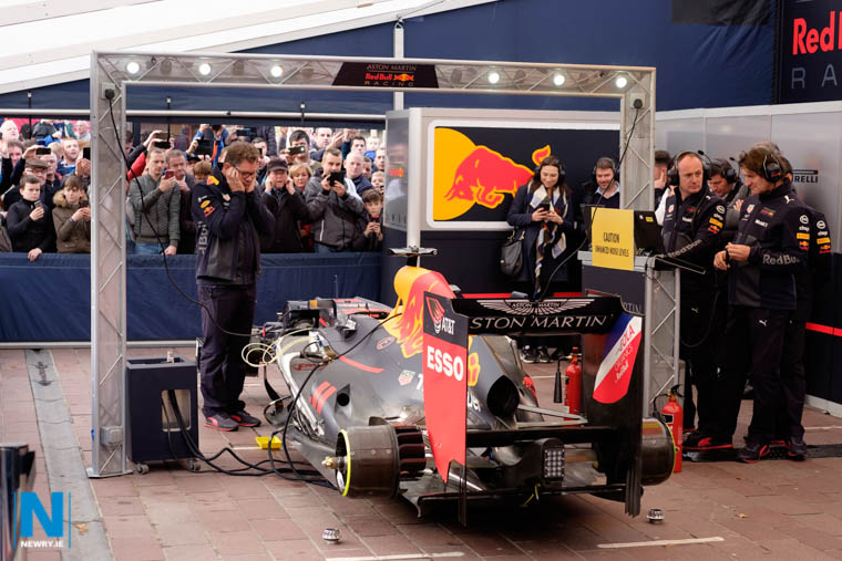 The Aston Martin Red Bull Racing crew were in Newry in November courtesy of Newry BID and First Derivatives. Photograph: Columba O'Hare/ Newry.ie
