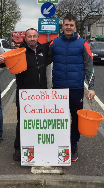 Club members Pat Mc Ginn & Paul Cunningham on Street Collection fundraising duties