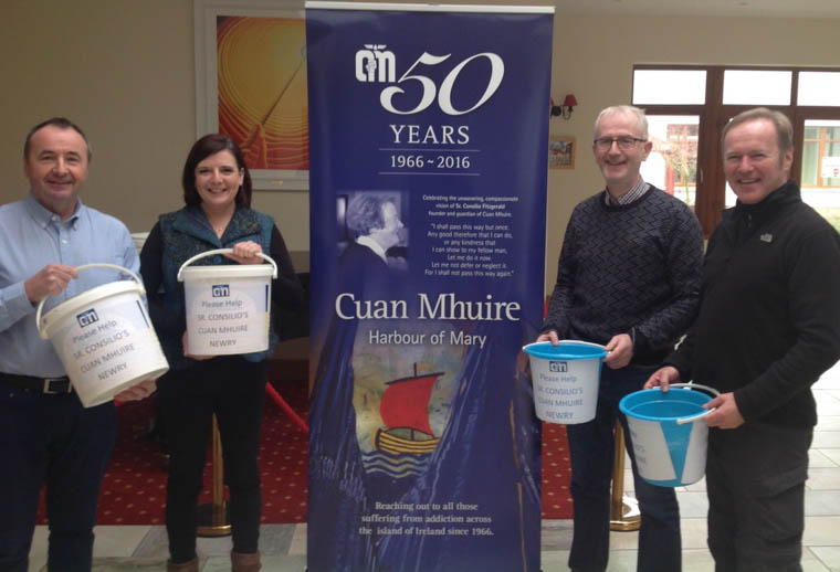 Oonagh Lavery (Cuan Mhuire Support Worker), Pat Mc Ginn (Friends of Cuan Mhuire), Gerry McElroy (Cuan Mhuire Staff) and Des Murphy (Friends of Cuan Mhuire) get ready for Saturday's Street Collection in Camlough.