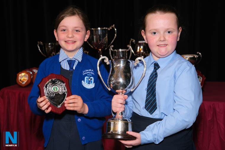 Emily Crawley from Windsor Hill PS, Newry the Class 14 Choral Speaking winners of the W.V. Hogg Cup at Newry Musical Feis and Sophie Kupczyk, St Clare's Abbey PS, Newry, the runners up. Photograph: Columba O'Hare/ Newry.ie