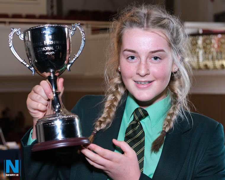 The Class 16 Choral Speaking section at Newry Feis was won by the Sacred Heart Grammar School, Newry and Aoife Millar is pictured with the Ethel Fitzpatrick Cup. Photograph: Columba O'Hare/ Newry.ie