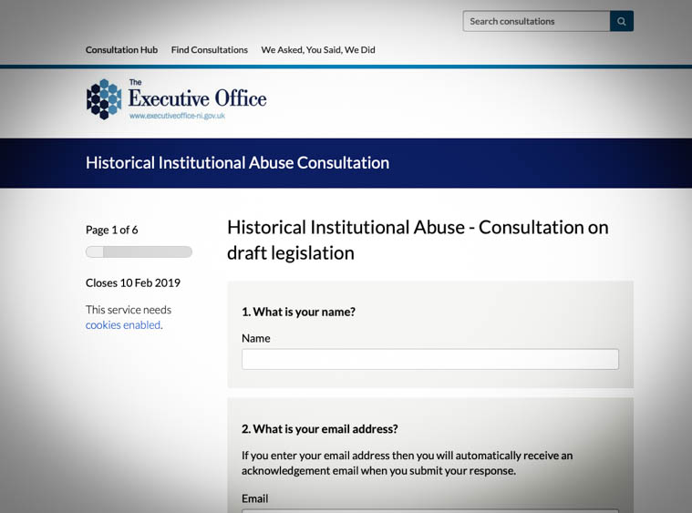 You can add your input online to the Historical Institutional Abuse Consultation.