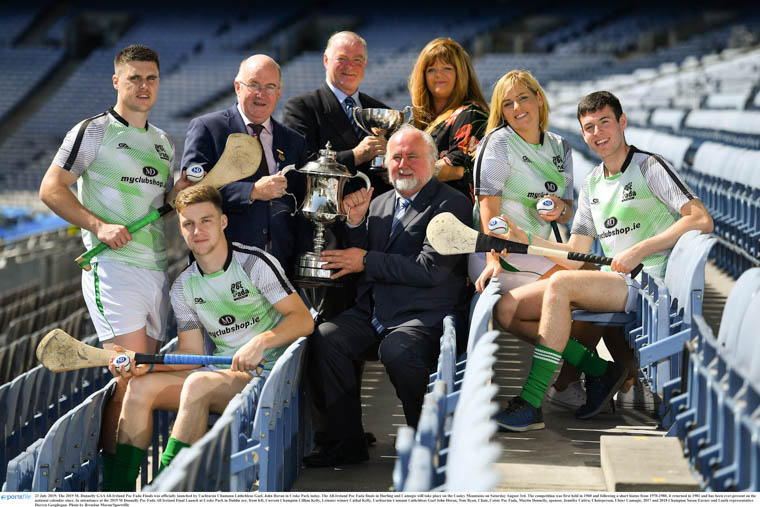 Launching the 2019 M Donnelly Poc Fada All Ireland Final Launch at Croke Park in Dublin are, from left, Current Champion Cillian Kelly, Leinster winner Cathal Kelly, Uachtaráin Cumann Lúthchleas Gael John Horan, Tom Ryan, Chair, Coiste Poc Fada, Martin Donnelly, sponsor, Jennifer Cultra, Chairperson, Ulster Camogie, 2017 and 2018 Champion Susan Earner and Louth representative Darren Geoghegan. Photograph: Brendan Moran/Sportsfile