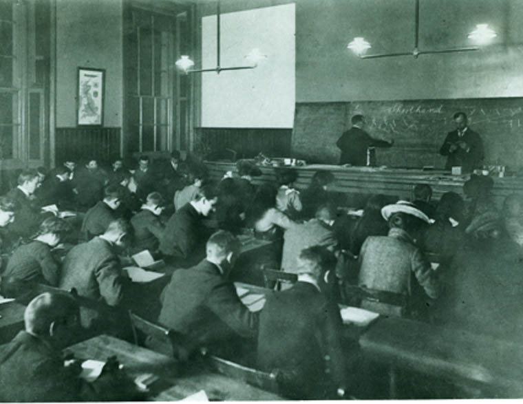 Students and teachers in a shorthand class in the Assembly Hall at Newry Municipal Technical School in the early 1900s. Pictured writing on the board is Terry Crilley, who taught at the Abbey Christian Brother's Grammar School in Newry, as well as teaching evening classes at the Technical School. Courtesy of Mary Clarke
