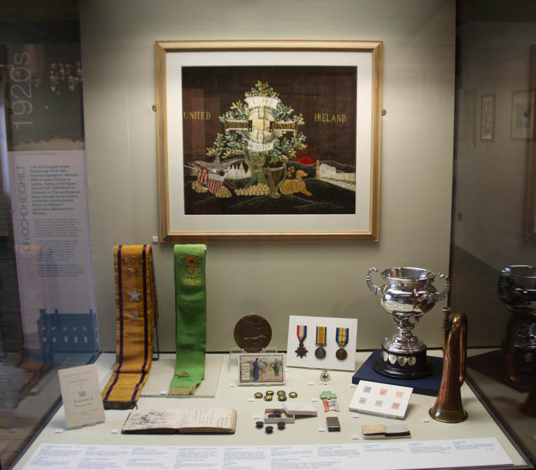 The textile panel and Orange Order and Irish National Foresters sashes on display along with artefacts from the early 20th century at Newry and Mourne Museum Newry and Mourne Museum Collection