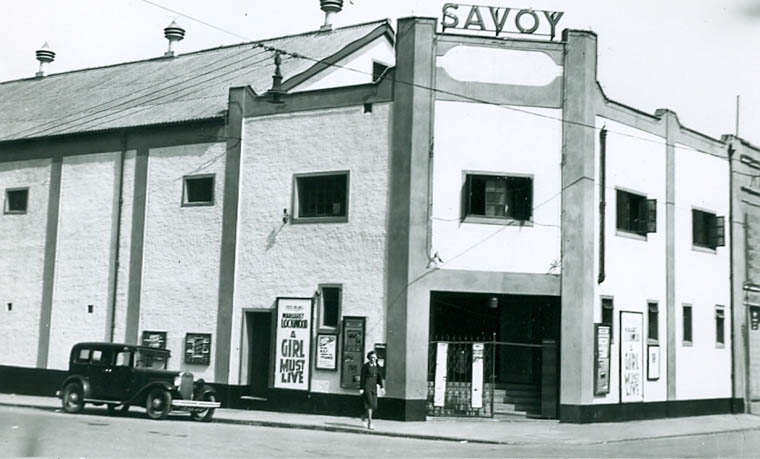The Savoy Cinema, Newry, 1940. This was one of three cinemas frequented by Frank Hall when he lived in Newry.  Photograph by Pat Hudson, courtesy of Catherine Hudson