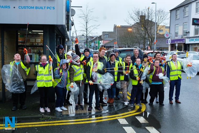 Some of the team taking part in today's Newry BID Litter Pick. Photograph: Columba O'Hare/ Newry.ie