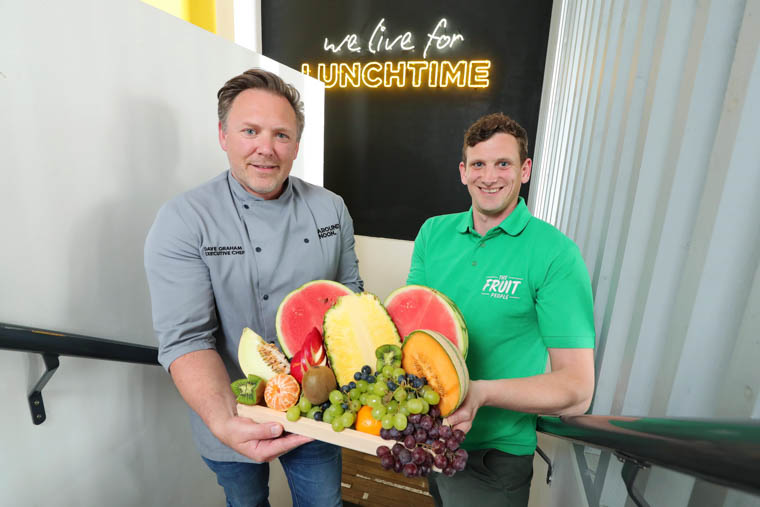 Dave Graham, Executive Chef at Around Noon, discusses the significant growth in sales of the company's fruit pots with Barry Denis of supplier The Fruit People.