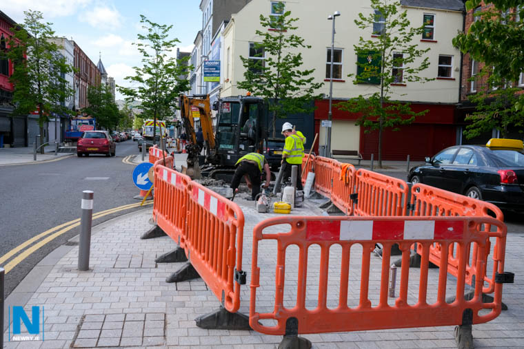 If the DFI has started their pilot scheme on Hill Street this morning they would have had to compete with several other ongoing maintenance projects on the Newry street. Photograph: Columba O'Hare/ Newry.ie
