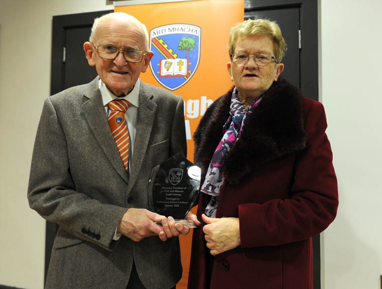 Joe Canning and sister Angela with his award to mark his appointment as Honorary President