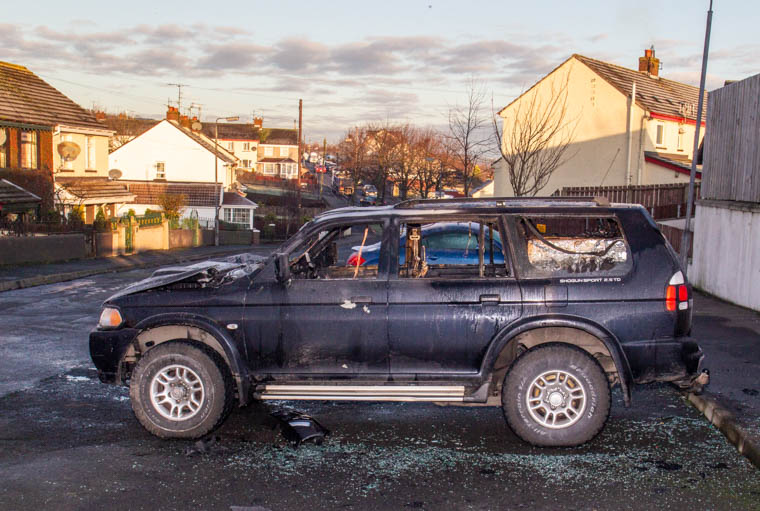 The burnt out vehicle on at Derrybeg. Photograph: NewRayPics.com