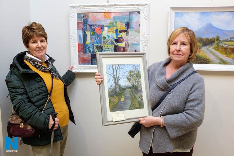 Mary McCabe and Rosaleen Tohill from Newry Art Society at the opening of the exhibition. Photograph: Columba O'Hare/ Newry.ie