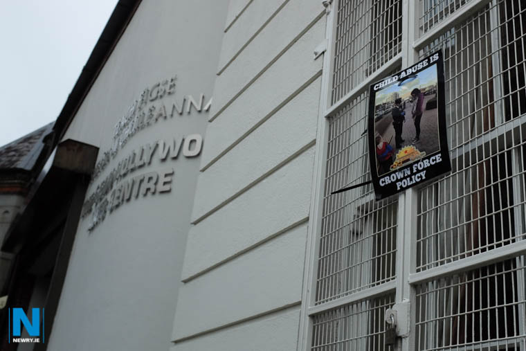 A poster placed on the window of the Sean Hollywood Arts Centre. Photograph: Columba O'Hare/ Newry.ie