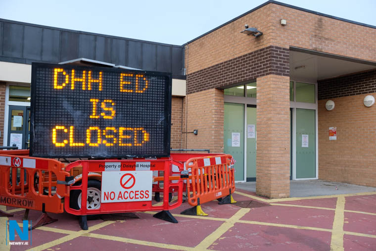 A sign at Daisy Hill Hospital warns that Daisy Hill Emergency Department is closed. Photograph: Columba O'Hare/ Newry.ie