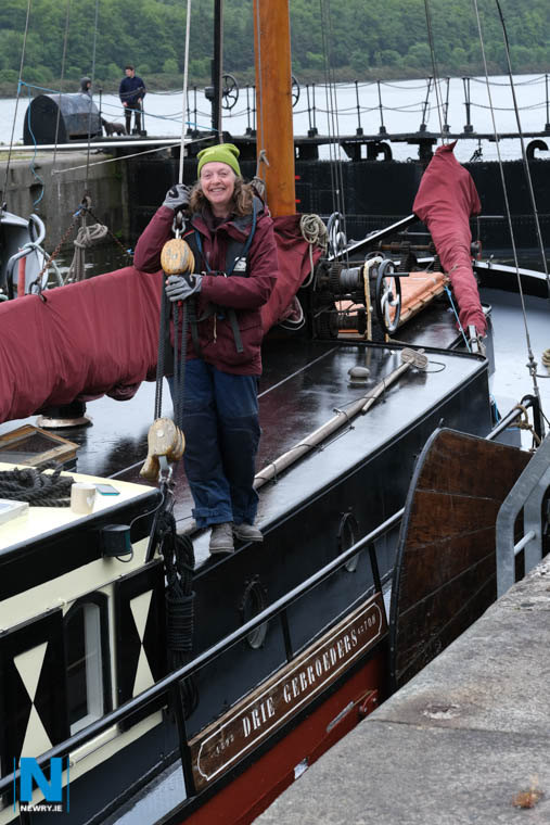 Hilary Hunter and her dutch barge Drie Gebroeders (Three Brothers). Photograph: Columba O'Hare/ Newry.ie