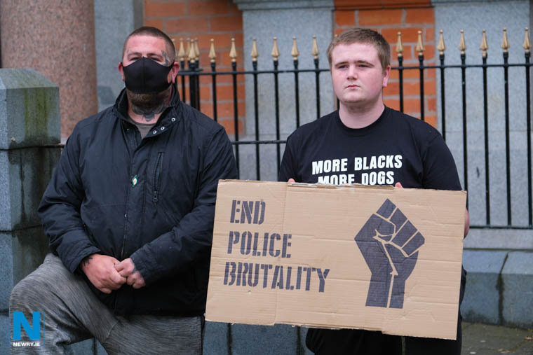 Protestors outside Newry Town Hall today in solidarity with the 'Black Lives Matter' campaign following George Floyd's death at the hand of police officers in America. Photograph: Columba O'Hare/ Newry.ie
