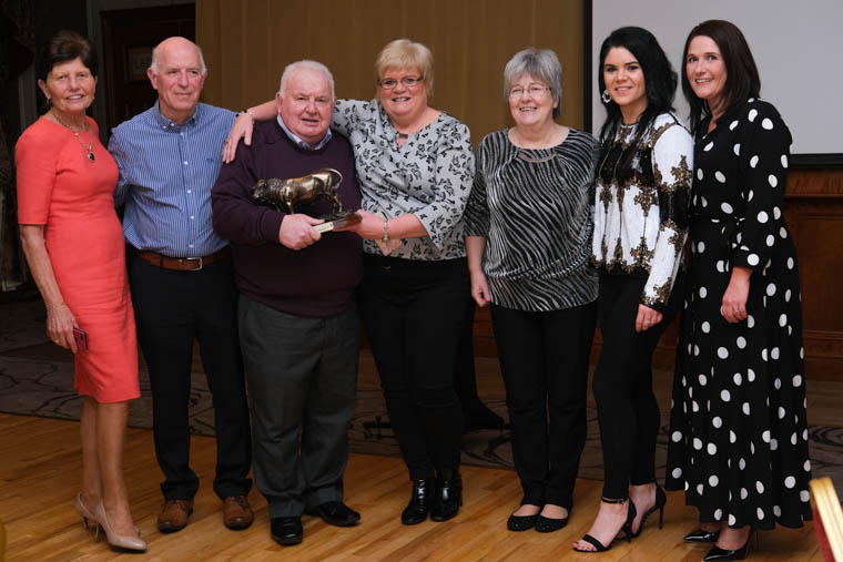 Dickie Callan pictured with ABP staff at his retirement night in the Canal Court Hotel in Newry. Photograph: Columba O'Hare/ Newry.ie