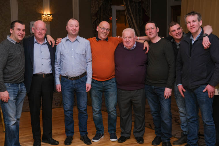 Dickie Callan pictured with some of his many friends from ABP at his retirement night in the Canal Court Hotel in Newry. Photograph: Columba O'Hare/ Newry.ie