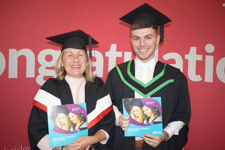 Mother and son Mary and Peter McDonald from Newry who both graduated at SRC's Higher Education Graduation. Mary studied the City & Guilds Level 4 Diploma in Digital Marketing and Peter graduated from the Ulster University Foundation Degree in Mechatronic Engineering.