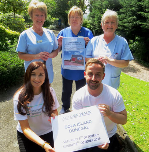 Launching the Hospice Autumn walk were back from left: Nursing staff Mary McCoy, Bernie Ferris and Elaine Monaghan. Front are Fundraising staff Bernie Byrne and James McCaffrey.