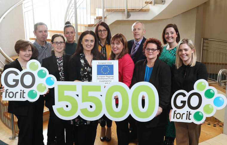 The Go For It Programme has helped over 5,500 entrepreneurs from across Northern Ireland launch their very own business plan in the last two years.Pictured celebrating the milestone are: Front from left - Shirley McIntyre, Mid Ulster District Council, Seonaid Rooney, Antrim and Newtownabbey Borough Council, Siobhan Owens, Fermanagh and Omagh District Council, Elaine McAlinden, Newry, Mourne and Down District Council, Maura Bettes, Ards and North Down Borough Council, Cathy Keenan, Belfast City Council.Back from left: Sean Keenan, Mid and East Antirm Borough Council, Louise Breslin, Derry City and Strabane District Council, Patricia Mallon, Lisburn and Castlereagh City Council, Martin Clark, Causeway Coast and Glens Borough Council, Sarah Jane MacDonald, Armagh City, Banbridge and Craigavon Borough Council.