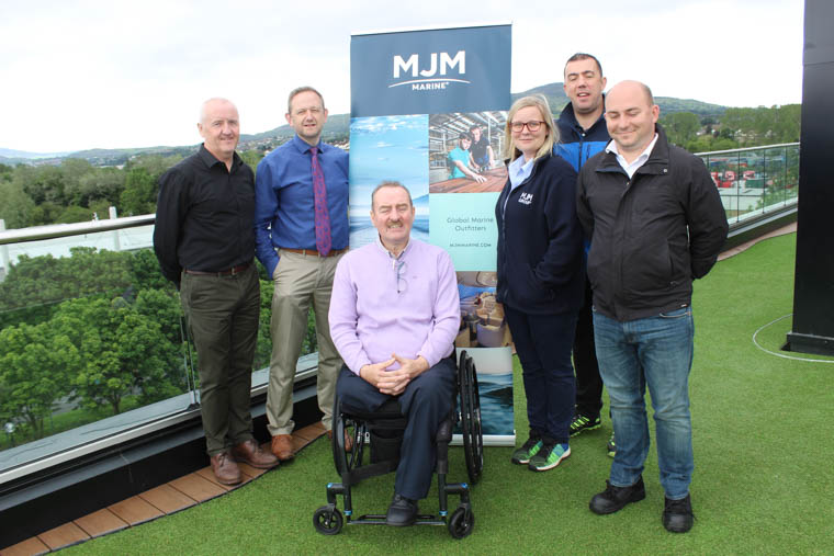 James Gorry shared his story of the life-changing impact a workplace accident had on him and his family with employees at MJM Marine.  James is picture (centre) with (l to R) Gavin McKevitt, Contracts Director, MJM Marine, Gary Annett, CEO, MJM Marine, Pearse McCartan, (right back) Health & Safety Manager, MJM Marine, Quintina Little, Health & Safety Officer MJM Marine and Gustaw Bombik, Health & Safety MJM Marine