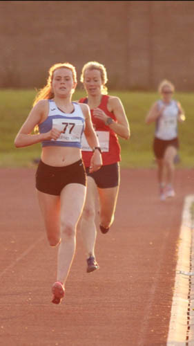 Meadow McCauley leading the Louth County Championships 800m Race
