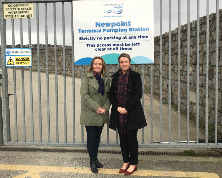 Cllr Roisin Mulgrew & Liz Kimmins MLA at one of the local NI Water pumping stations.