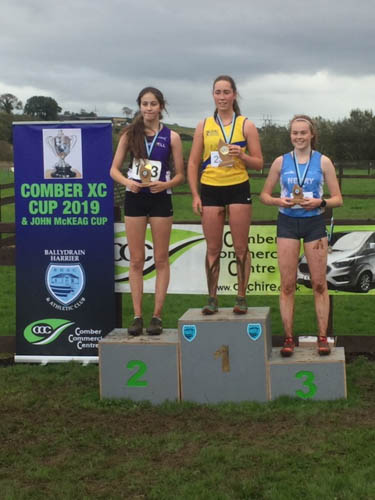 Meadow McCauley receiving 3rd Prize in Comber Cup U17s XC