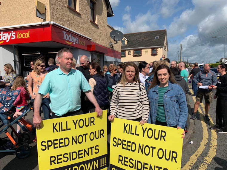 Megan Fearon MLA Cllrs Mickey Larkin and Liz Kimmins At the Community Rally In Meigh